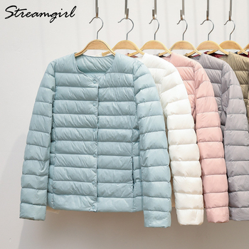 Ultra Thin Down Jacket Women Large Size Pink Womens Lightweight Jackets Light White Coat Warm Short - discount item  45% OFF Coats & Jackets
