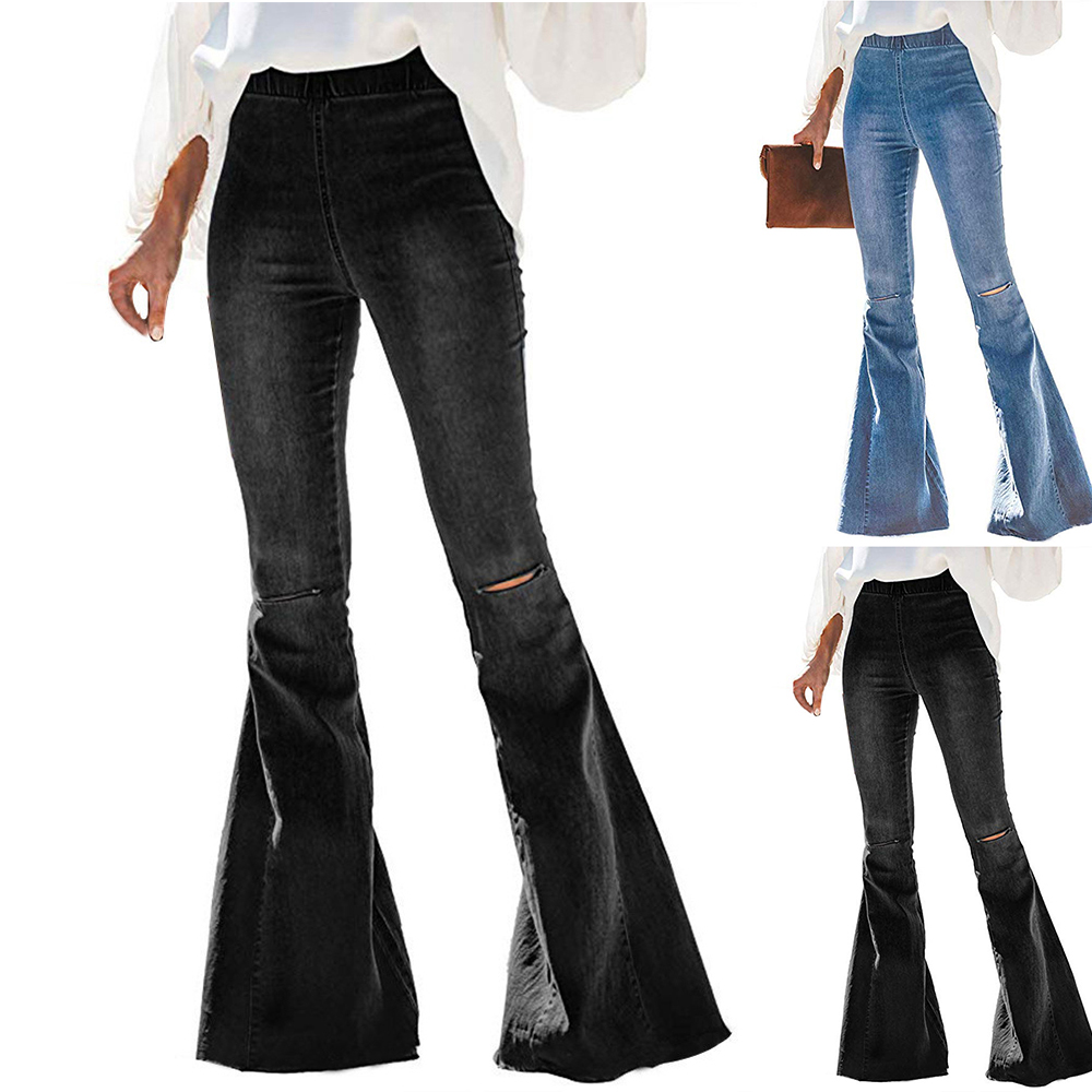 Women Ladies Spring Elastic Plus Loose Denim Bow Casual Boot Cut Pants Jeans L