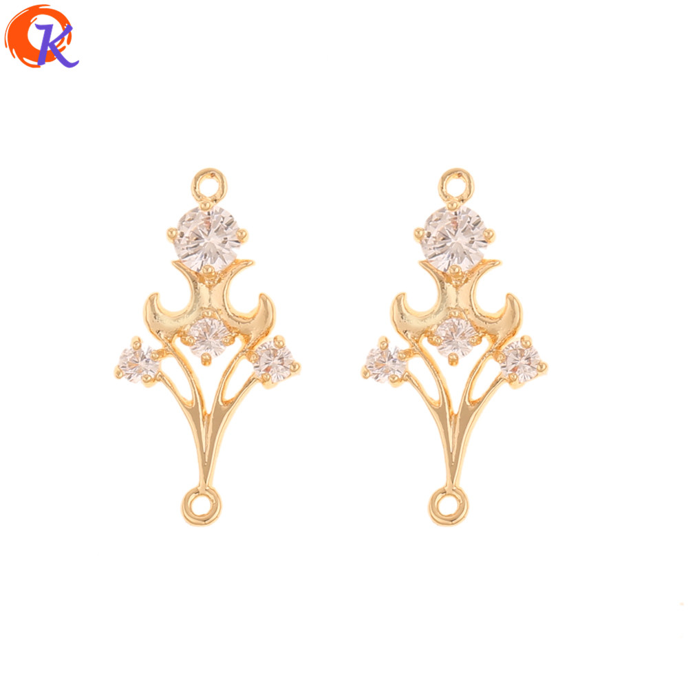 Cordial Design 30Pcs 13*26MM Jewelry Accessories/DIY Making/CZ Connectors/Genuine Gold Plating/Hand Made/Earring Findings