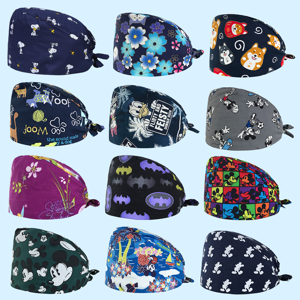 Pet Grooming Doctor Work Caps Pharmacy Doctor Surgical Caps Animal Print Scrub Cap Cotton Medical Use Doctor Nurse Cap Wholesale