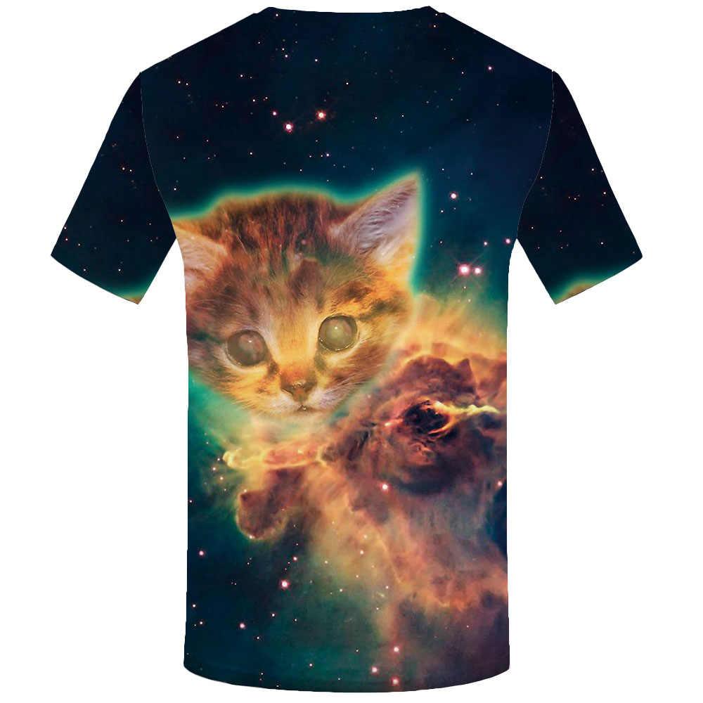 QCIV Marke Katze T-shirt Männer Tier Anime Kleidung Psychedelic T-shirts 3d Galaxy T-shirts Casual Schöne Lustige T shirts Kurzarm