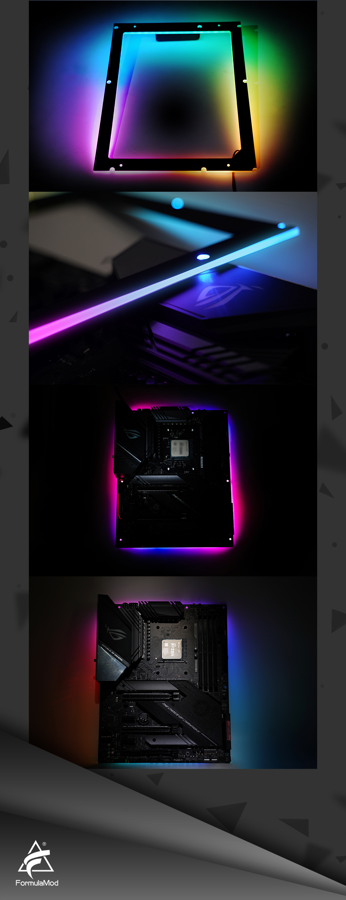 FormulaMod Lightinghouse ATX Motherboard Lighting Back Plate 5v 3Pin A-RGB LED Mobo Luminous Backplane Dekoration Fm-MBRGB