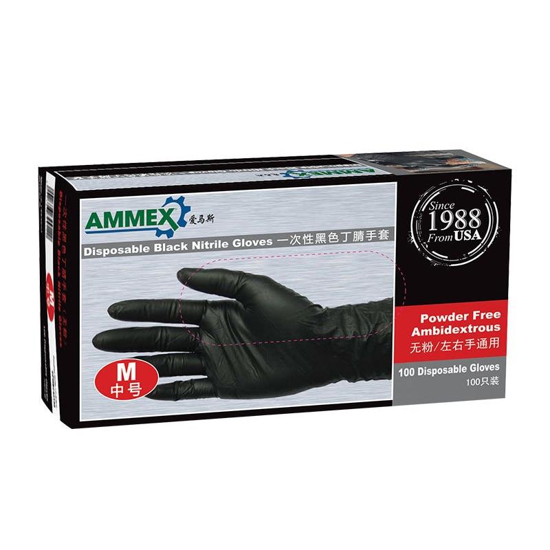 L Size Comfortable Black Gloves Disposable Nitrile Glove Waterproof Oil-proof Blue Women Men Beauty Glove Clean Protective