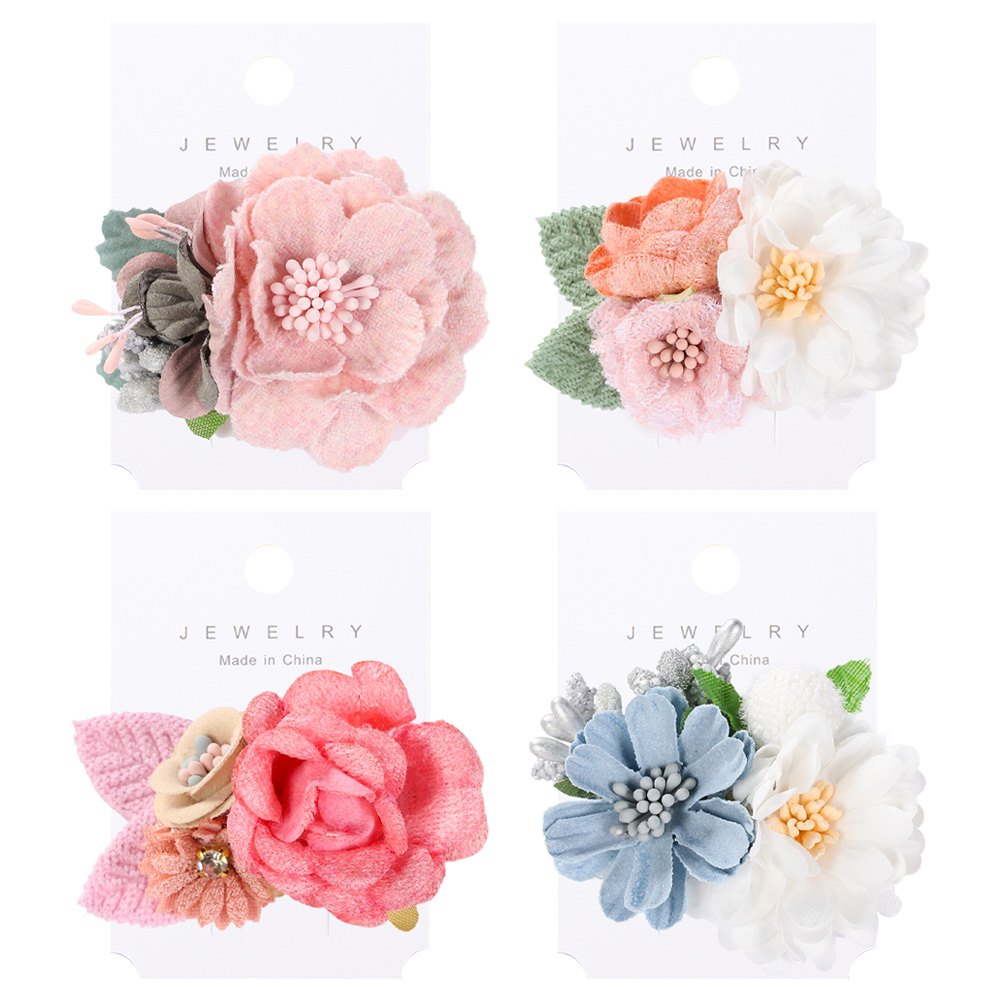 Artificial Flower BB Barrettes Woman Girls Hair Clips For Wedding Party Hair Bows Fashion Hair Accessories