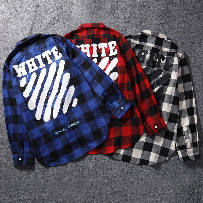 Off Traditional Chinese Ink Graffiti Printed Ow Plaid White Long-sleeved Shirt Men And Women Loose-Fit High Street Couples Hip H