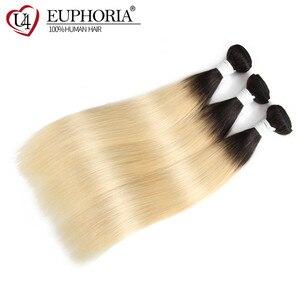 Image 3 - 蜂蜜ブロンド613ストレートヘアバンドル織りオンブルブロンド1/3/4個ブラジル人間の髪のバンドルヘアウィービングエクステンションをユーフォリア