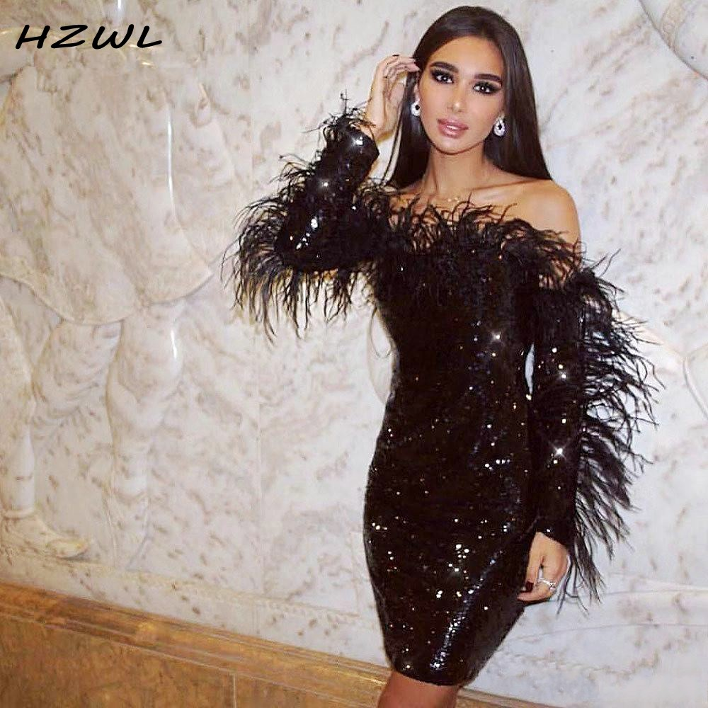 Sparkling Black Sequined Short Prom Gowns With Feather Sexy Long Sleeve Cocktail Party Dresses Off  Shoulder Vestido De Festa