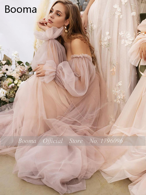 Booma Pink Wedding Dresses Beach Boho Off the Shoulder Bridal Gown Sweetheart Elegant Princess Wedding Party Gown Plus Size 5