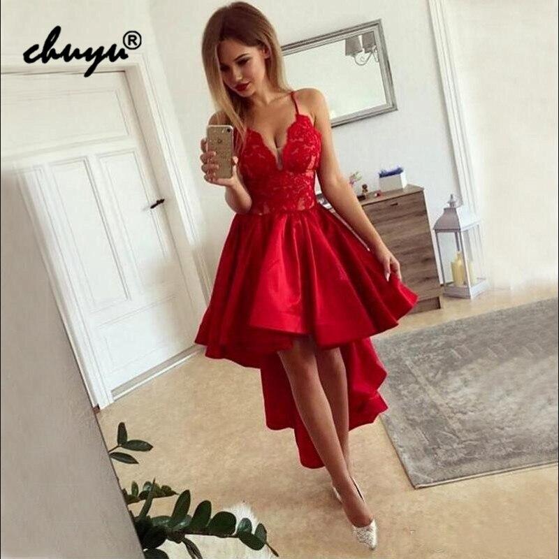 Red Homecoming Dresses  Party Dresses Spaghetti Straps Hi Low Satin Mini Prom Gown Vestidos De Graduacion Dress