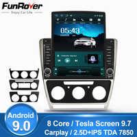 Funrover 9,7 Tesla pantalla Android9.0 coche reproductor multimedia radio gps navi para Skoda Octavia 2008-2013 A5 IPS rds 8 núcleos SIN DVD