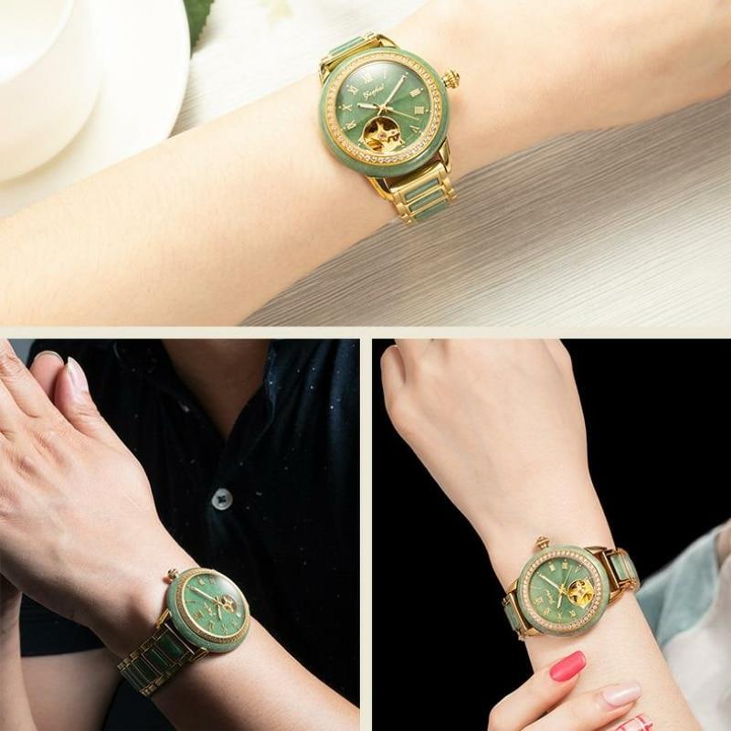 GEZFEEL Luxury Brand Ladies Automatic Mechanical Watches Pure Natural Jade Watch Waterproof Women's Gift Relojes Para Mujer