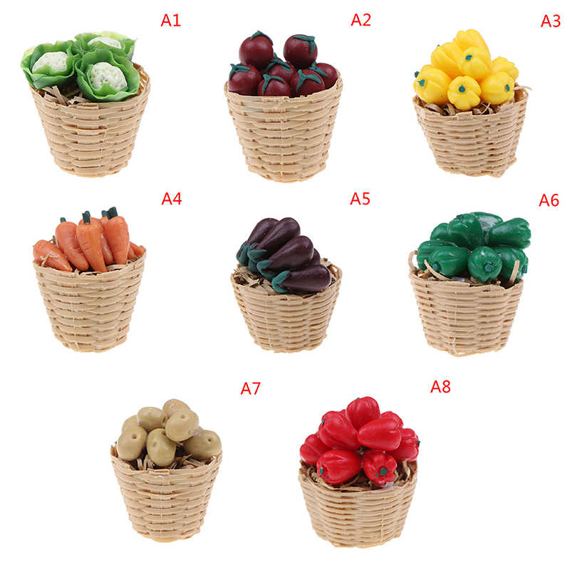 1 Miniature Dollhouse Oval Basket with 22 different Vegetables Scale 1:12