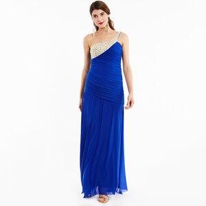Image 4 - Tanpell uzun gece elbisesi şampanya kolsuz pleats dantelli boncuk kat uzunluk elbiseler kadın balo bir omuz gece elbisesi