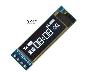 Image 2 - 0.91 calowy moduł wyświetlacza OLED biały/niebieski OLED 128X32 wyświetlacz LCD LED SSD1306 12864 0.91 IIC i2C Communicate dla ardunio