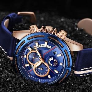 Image 3 - חדש ליגע Mens שעונים למעלה מותג יוקרה כחול צבאי ספורט שעון גברים עור עמיד למים שעון קוורץ Wishwatch Relogio Masculino