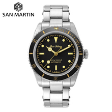 Ceramic Bezel Mechanical-Watches Diver Sapphire Crystal San Martin Window Water-Ghost