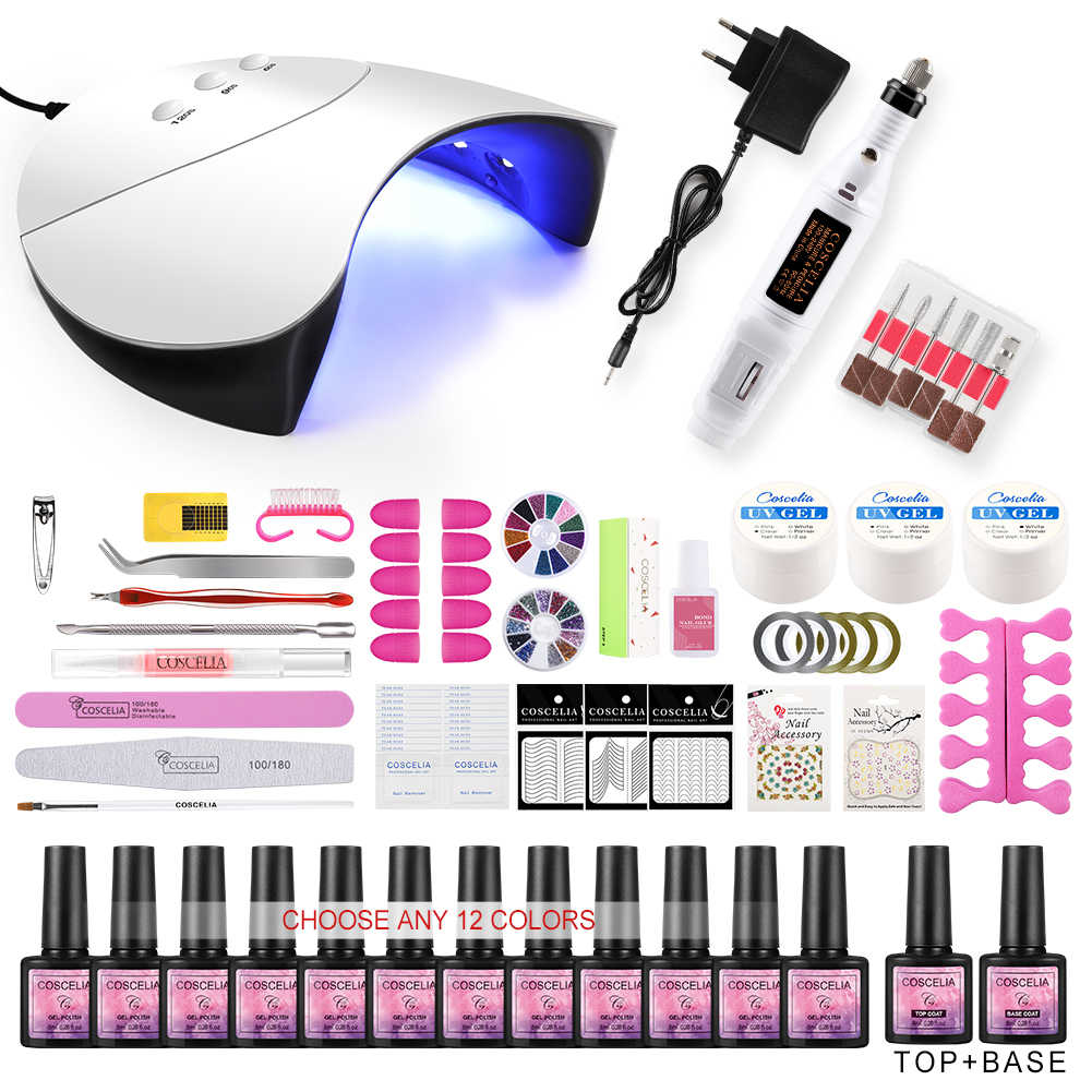 Manicure Set Acrilico Nail Kit di Pennelli Per Manicure Chiodo Del Gel Kit Smalto HA CONDOTTO LA Lampada UV Set Per La Nail Gel UV smalto di Tutto Per Manicure