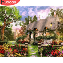 HUACAN DIY Oil Pictures By Numbers House Scenery Painting Kits Drawing Canvas HandPainted Gift Home Decoration