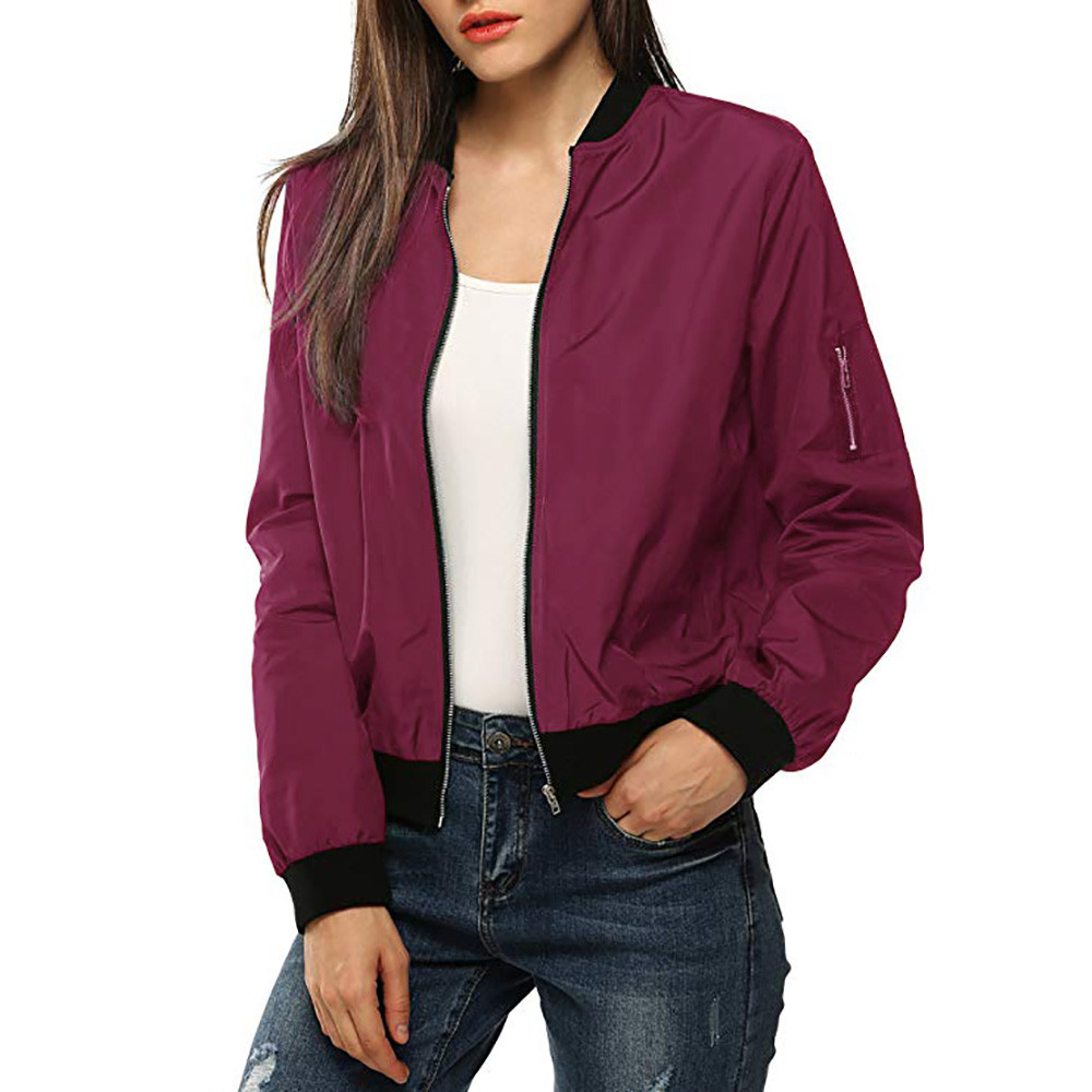 2020 Womens Classic Short Bomber Jacket Coat Pure Color  Round neck Long Sleeve Thin Female Jackets Outwear#LR3
