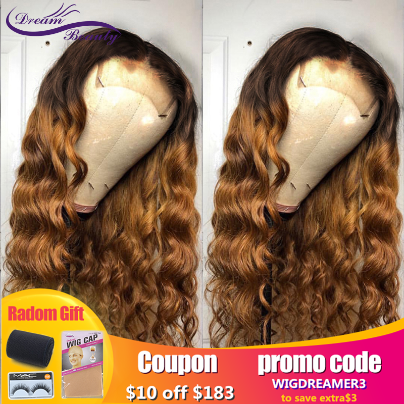 Ombre Blond Curly Brazilian Remy Hair  Ombre Color 13x6 Lace Front Human Hair Wigs With Baby Hair Bleached Knots Dream Beauty