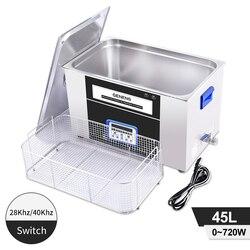 Podwójna częstotliwość ultradźwiękowa 45L wysokiej mocy ogrzewanie pulpit obwodu drukowanego części samochodowe formy metalowe pralka ultradźwiękowa