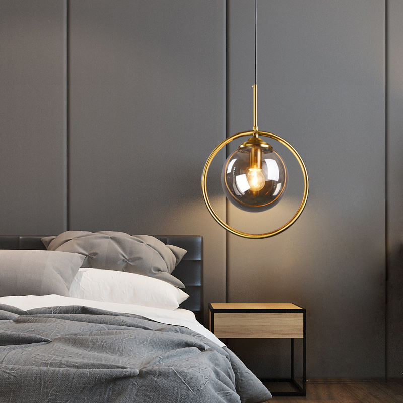 Modern Glass Ball Pendant Lighting Fixture Golden Ring Kitchen Dining Room Bedside Hanging Lamps Luminaire Suspension Lights