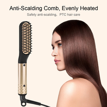 ANLAN Hair Straightener Comb Durable Electric Heated Straight Hair Brush Comb LCD Ceramic Hair Straightener Brush