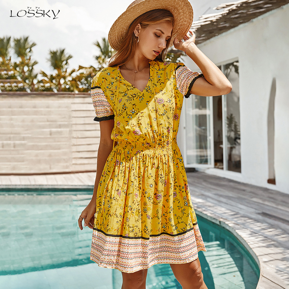 Boho Chic Dress Women Summer Bohemian Floral Print Mini Short Sundress Bow Tie Casual Pink Fitted Clothes Yellow 2020 Trendyol(China)