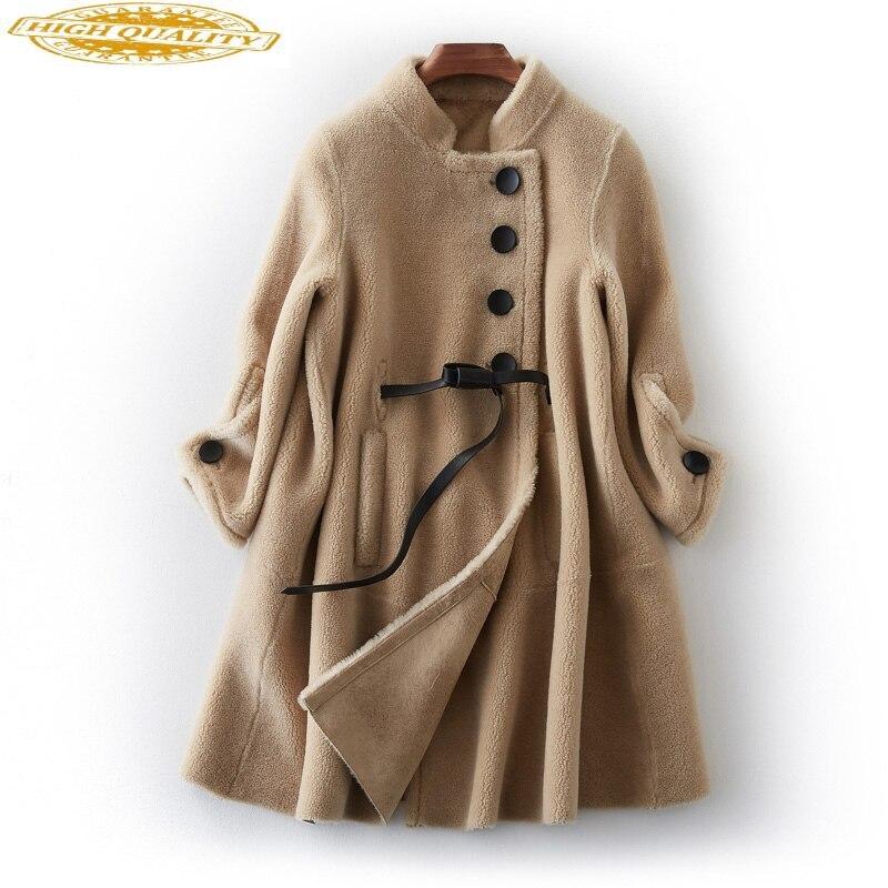 2020 Real Sheep Shearling Fur Coat Female Korean Long Jackets Winter Jacket Women 100% Wool Coats Chaqueta Mujer MY4000