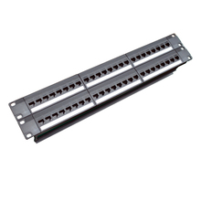 19inch 2U Cabinet Rack Pass-through 48 Port CAT6 Patch Panel RJ45 Network Cable Adapter Keystone Jack Modular Distribution Frame