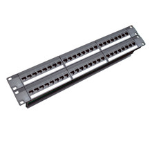 19 Inch 2U Cabinet Rack Pass-Through 48 Port CAT6 Patch Panel RJ45 Jaringan Kabel Adaptor Keystone Jack Modular distribution Frame(China)