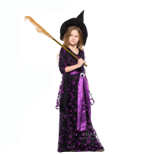 Festival Holiday Kids Witch Costume Baby Girls Halloween Party Costumes Purple Witch Fancy Dress Carnival Cosplay Costume цены онлайн