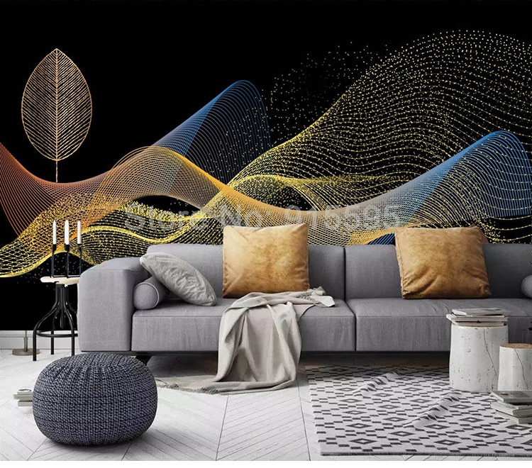 Custom Photo Wall Paper 3D Golden Leaves Abstract Smoke Wall Painting Creative Wallpaper (1 ㎡)