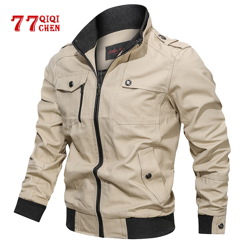 Casual Solid Jacket Men Cotton Multi-pocket Bomber Jackets Male Spring Autumn Slim Fit Coat Pilot Windbreaker Jaqueta Masculina
