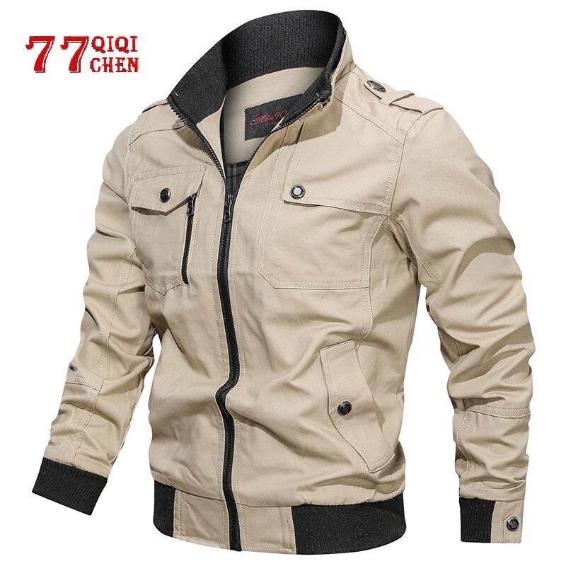 Casual Solid Jacket Men Cotton Multi-pocket Bomber Jackets Male Spring Autumn Slim Fit Coat Pilot Windbreaker Jaqueta Masculina