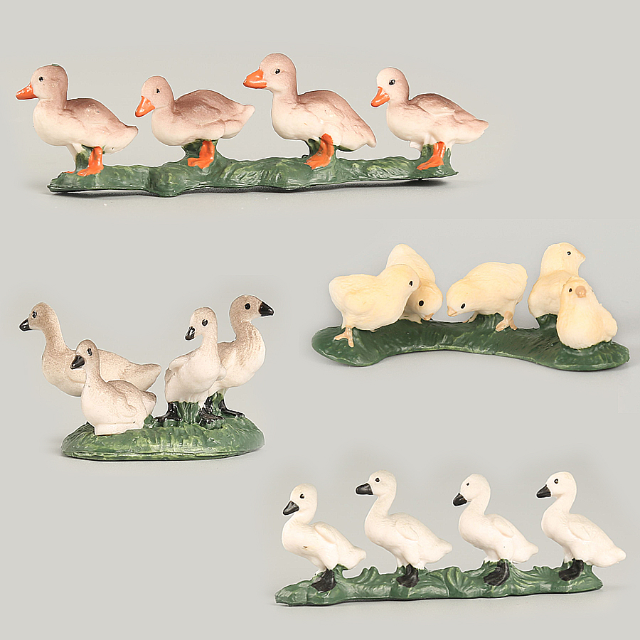 Farm Animals Decorative Figurines Simulation Mini Cute Chicken Duck Goose Figures Animals Set Model PVC Toys For Kids