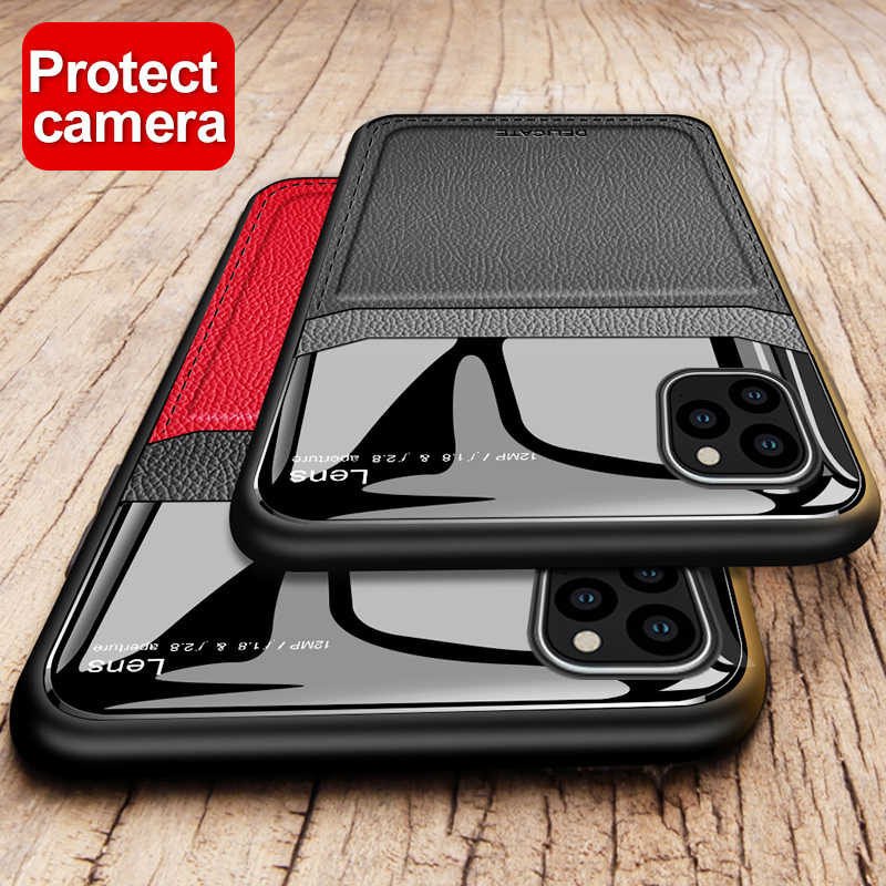 Fashion Case Op de Voor iphone 11 pro ik phone11 Bumper Spiegel Case Screen Protector oogbescherming Cover Shell iphone 11 pro max