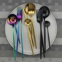 Розовое золото столовые приборы набор столовой посуды для кухни Набор радужных столовых приборов 304 нержавеющая сталь набор посуды нож вилка ложка столовое серебро