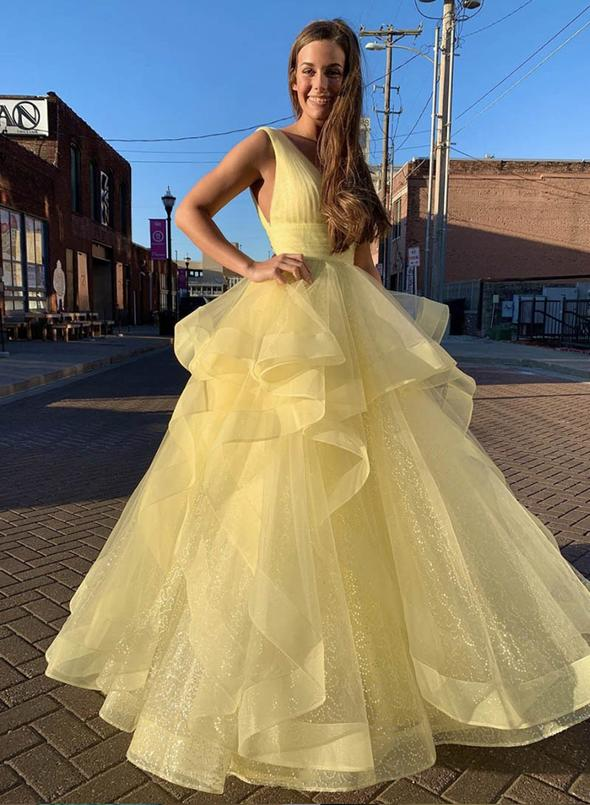 Yellow Sequined Evening Dresses Ball Gown Ruffles Deep V Neck Sleeveless Long Prom Gowns Walk Beside You Formal Party Graduation