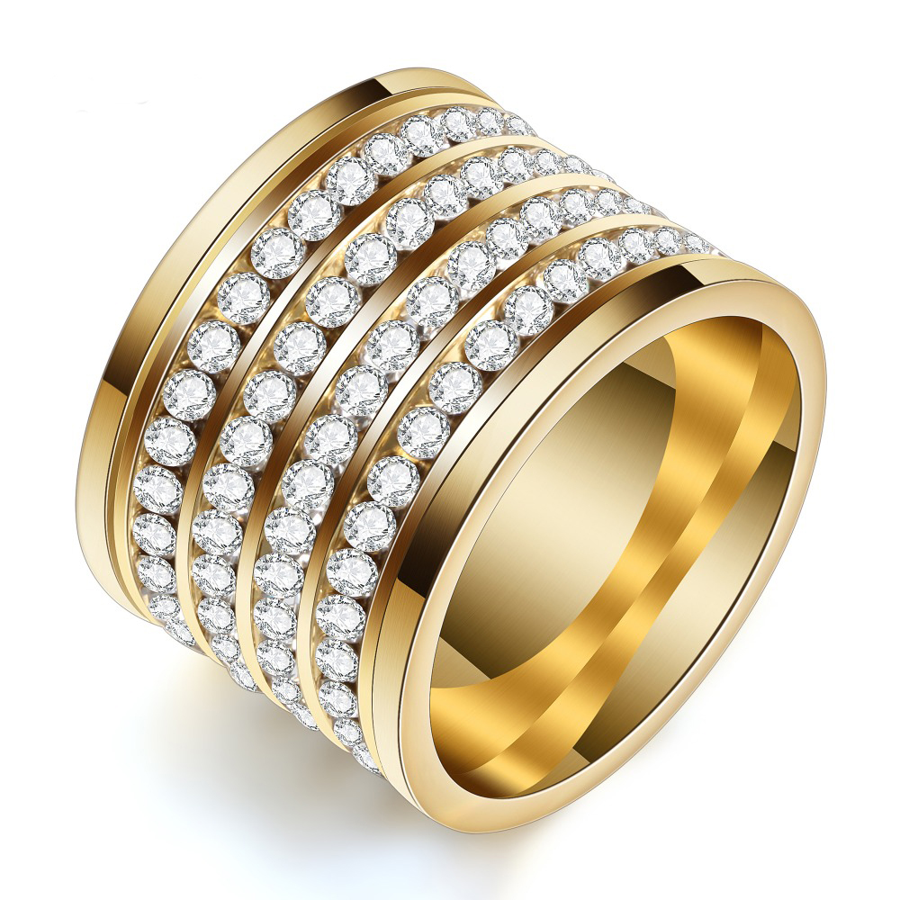 Fashion shining full 4 Row Crystal rhinestone Jewelry Ring Gold Stainless Steel Couple Wedding rings for men and Women 5