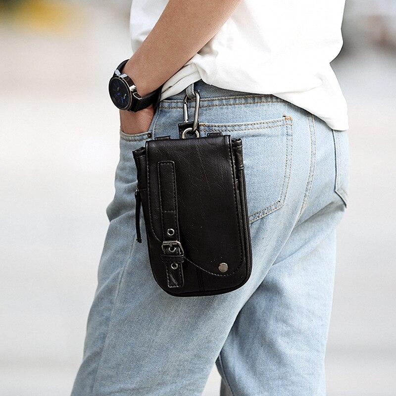 2020 New Leather Men Belt Bag Mobile Phone Pockets Men Waist Pack Travel Belt Wallets Coins Purse Cigarette Pack Headset Bag