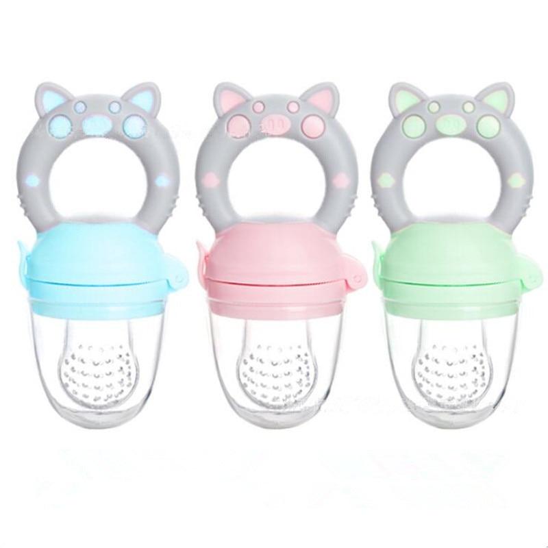 Pig Handle Pacifier Feeder For Baby Food Grade Silicone PP Training Nipple Milk Fresh Fruit Nibbler Teat Pacifier Bottles
