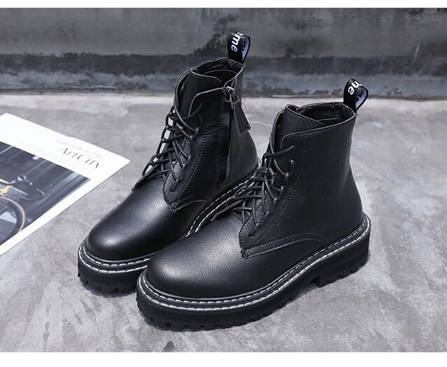 2019 WOMEN'S Shoes Autumn Women's Korean-style Yang Mi Celebrity Style Martin Boots Short Boots Leather Boot WOMEN'S Boots WOMEN