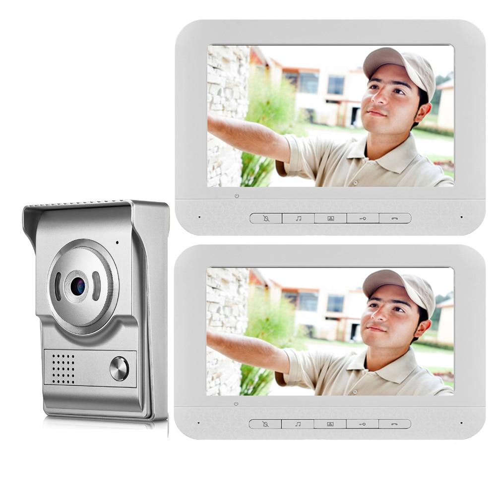 SmartYIBA Home Security Intercom 7''Inch Wired Video Door Phone System Visual Video Intercom Doorbell 1 Monitor 2 Camera Kit
