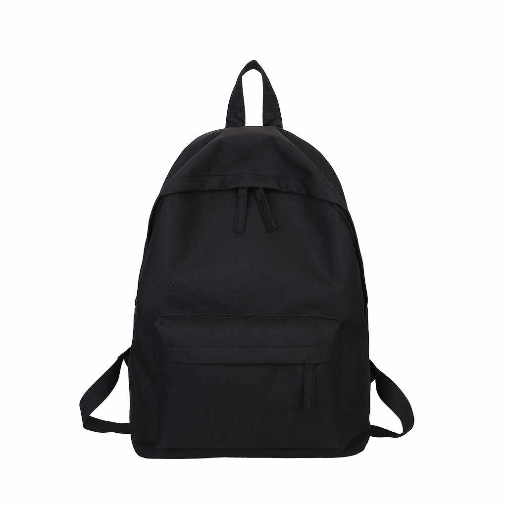 Large Capacity Solid Color White Gray Black Waterproof Nylon Casual Unisex Backpack Students School Bag Women's Men's Package