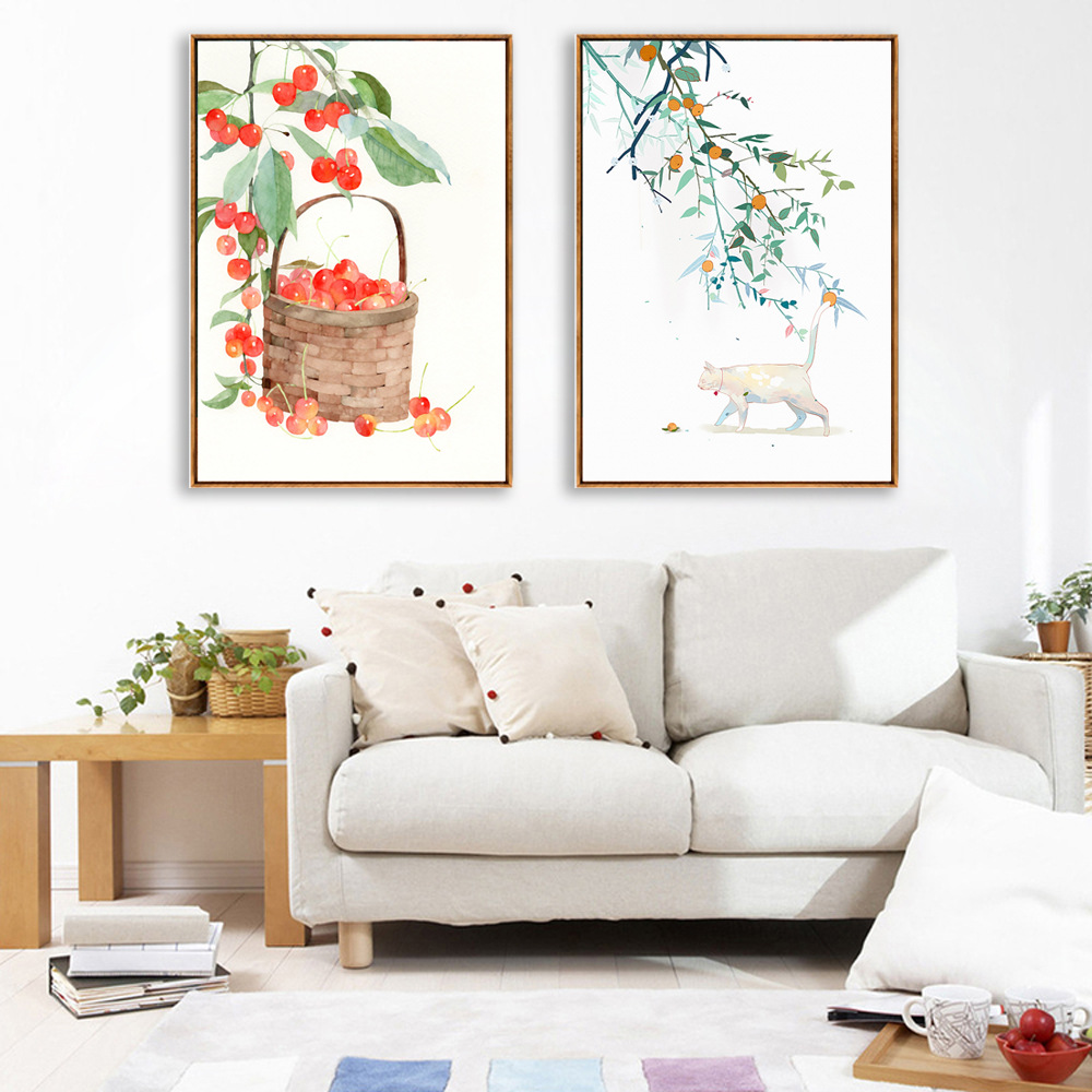 Cat and Cherry Living Room Decoration Canvas Painting Nordic Simple Hotel Clubhouse Oil Painting Modern Home Decor Animal Print Painting & Calligraphy    - AliExpress