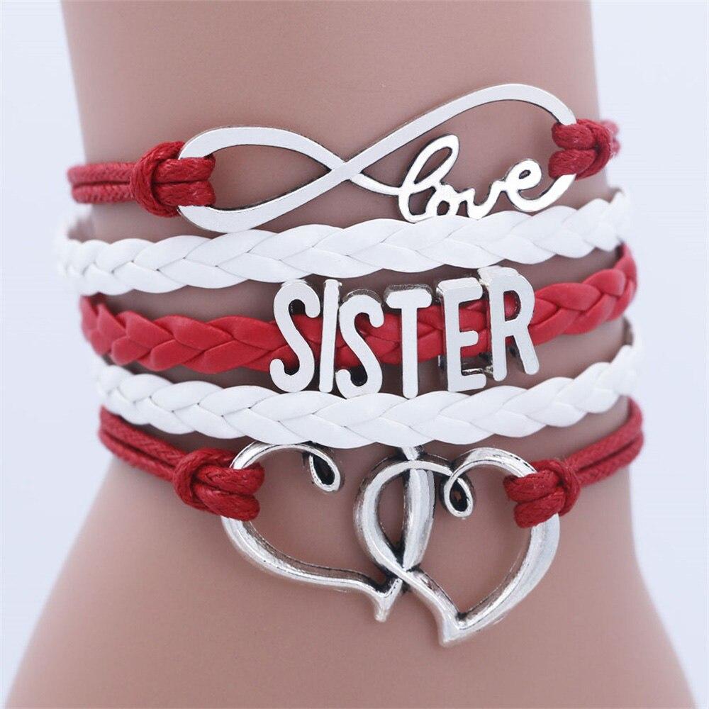SISTER Kids Двойное сердце цепочка браслет для девочек браслеты дружбы ювелирные изделия многослойный браслет с шармами модные ювелирные издел...