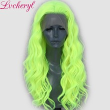 Lvcheryl 13X3 Neon Yellow Natural Wave Cosplay Drag Queen Party Wig Synthetic Lace Front Wigs Heat Resistant Fiber Hair(China)