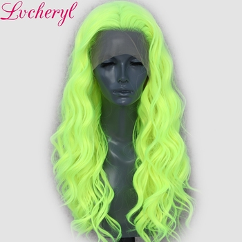 Lvcheryl 13X3 Neon Yellow Natural Wave Cosplay Drag Queen Party Wig Synthetic Lace Front Wigs Heat Resistant Fiber Hair