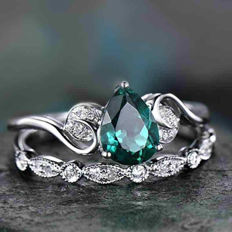 Luxo Feminino Anel Gota de Água Set 925 Anel de Casamento de Pedra Verde De Prata Amor Promessa Solitaire Anéis de Noivado Para As Mulheres